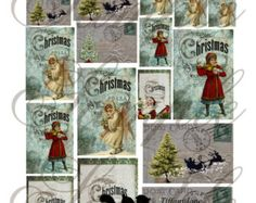 TiffanyJane-2-SHEETS-ChristmasWishes-Collage Sheet-InstantDownload-For Paper Art-Supplies-Embellishments - Edit Listing - Etsy