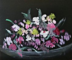 """Painted Flowers It is entitled The Bouquet and has as its quotation by Ralph Waldo Emerson, """"The earth laughs in flowers."""" ...Michela"""