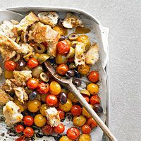 Roasted Tomato-Bread Toss - Try this flavorful take on a summer salad that combines Kalamata olives, cherry tomatoes, and crispy baguette pieces. It's ready in less than 30 minutes, tastes great served hot or cold, and will transport easily in a plastic container.