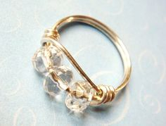 Crystal Ring  White/Clear Crystal Beads by SpiralsandSpice on Etsy, $18.00