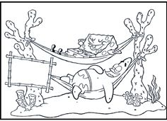 Spongebob Patrick Sleeping On Hanging Bed coloring picture for kids