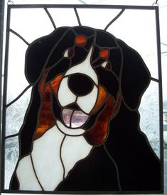 stained glass bernese mountain dog - Google Search