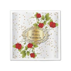 #template - #Beautiful Red Rose Flowers - Template Paper Napkin