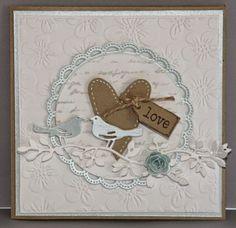 """My Cardcreations: """"love"""" - Kaart met een hartje en vogeltjes"""