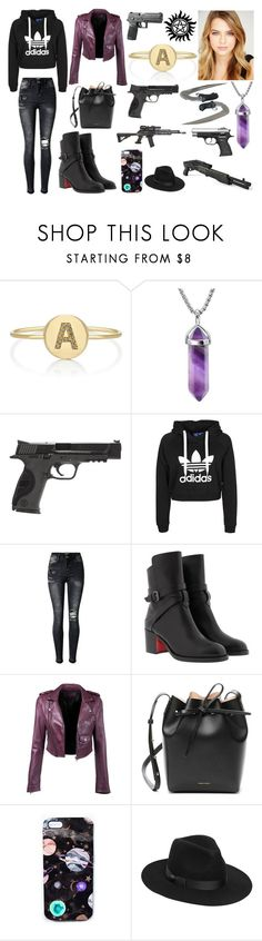 """Alexandra Winchester 1"" by giuly666 on Polyvore featuring moda, Jennifer Meyer Jewelry, Smith & Wesson, RIFLE, Christian Louboutin, Mansur Gavriel, Nikki Strange e Lack of Color"