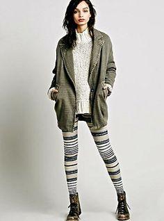 NWOT Free People stretch Striped Marled Sweater Leggings navy tan XS #FreePeople #sweaterleggings
