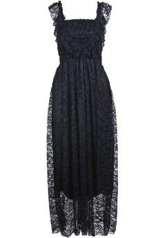 #Black Square Neck Sleeveless #Lace Pleated #Dress - Sheinside.com