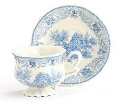 Blue Toile Teacup & Saucer