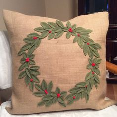 Check out this item in my Etsy shop https://www.etsy.com/listing/257943317/burlap-wreath-pillow-cover-christmas