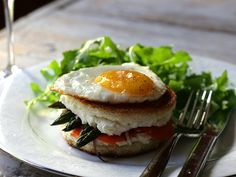 Salmon Asparagus Goat Cheese Grilled Cheese with Fried Egg
