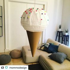 @mommodesign never fails to surprise with her whimsical IKEA hacks. Can you believe this delicious looking sundae is nothing more than a paper lamp shade? . . . . #ikea #Regolit #ikeahack #ikeahacks #diy #mommodesign #kids #kidsdecor #kidsdesign #icecream #diylamp #kidsroom