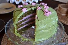 Green Tea Cake with Raspberry Mousse Filling and Green Tea Cream Cheese Frosting