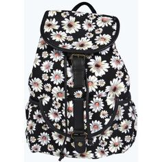 Boohoo Eva Large Daisy Pocket Front Rucksack ($20) ❤ liked on Polyvore featuring bags, backpacks, accessories, purses, pocket backpack, daisy backpack, drawstring backpack, draw string backpack and draw string bag