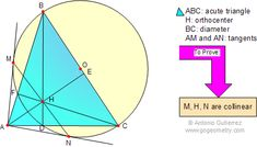 Geometry Problem 21: Acute Triangle, Orthocenter, Circle, Diameter, Tangent, Collinear Points. Level: High School, College, Math Education.