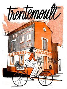 Nicolas Gremaud - Graphisme - Illustrations Cities Series #trentemoult #baladeenvelo #villedenantes Illustrations, Sketches, Art Director, Graphic Design, Drawings, Illustration, Doodles, Sketch, Tekenen