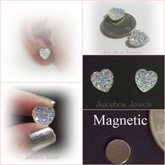 MAGNETIC Clear AB HEART 12mm  Faux Druzy Iridescent Non Pierced Earrings M170…