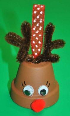 Dollar Store Crafts » Make a Flower Pot Reindeer Bell Ornament by tami