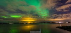 Northern lights in the Trondheim Fjord - Photo: Sven-Erik Northern Lights Norway, Trondheim, Shopping Street, Aurora Borealis, Where To Go, Beautiful Landscapes, Finland, Germany, Clouds