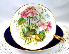 Vintage Aynsley Floral Footed Cup & Lovely Cup & Saucer, Gold Rims, English Bone China Teacup Coffee Cup, circa 1970s
