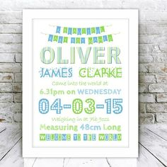 New Baby Boy Personalised Word Art Framed Print | GiftWrappedandGorgeous.co.uk This personalised baby boy word art typography picture features all the details of the new baby's birth, the perfect gift for a new baby. Our personalised birth announcements are unique and personal to the child its made for and would look great in the new babies nursery, and make a special keepsake too! Featuring the new baby's name, day and date of birth, birth weight, length of baby, and time of birth. £49.99