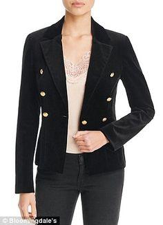 Aqua x Maddie & Tae velvet gold button blazer, $148, 100% Bloomingdale's Exclusive