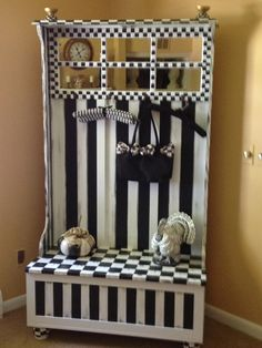 Whimsical Hand Painted Black And White Check French Country Mirrored Hall Coat…