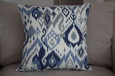 """Ikat Print Decorative Designer 20"""" x 20""""  Throw Pillow Cover - Off White, Blue and Gray Ikat Print with Dark Navy Denim Back"""