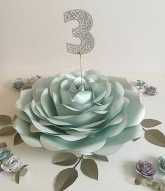 60cm 23 Giant Paper Rose Table Number Centrepiece