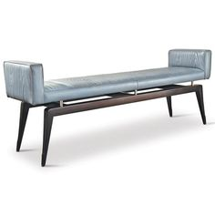 Calista Modern Art Deco Wood Pattern Grey Leather Bench
