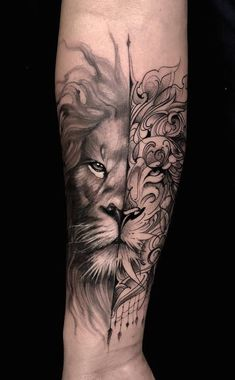 Lion Tattoo Sleeves, Mens Lion Tattoo, Sleeve Tattoos, Leo Tattoos, Forearm Tattoos, Sketch Tattoo Design, Tattoo Sketches, Tattoo Quotes For Men, Tattoos For Guys