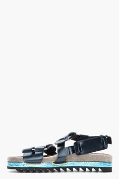 LANVIN Navy Patent Leather Python-Trimmed Sandals