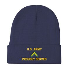 e74f6dd321f US Army E-2 Private Second Class E2 PV2 Enlisted Soldier Proudly Served  Embroidered Knit Beanie Hats