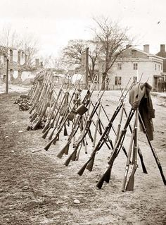 Another view of stacked rifles... Can do the same with toy daggers or knives and hot glue?