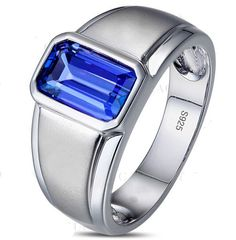 Silver Filled Oblong Blue Sapphire CZ Crystal Stone Solitaire Wedding Ring.
