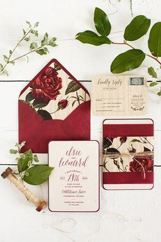 Gorgeous botanical print wedding invitation suite. #red #rose #wedding #invites