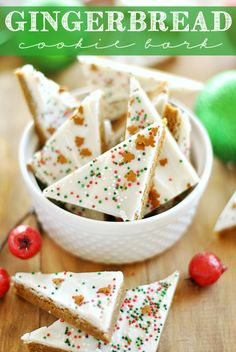 Gingerbread Cookie Bark I Made with Betty Crocker Gingerbread Cookie Mix, white chocolate candy melts and coconut oil. Holiday Cookies, Holiday Desserts, Holiday Baking, Holiday Treats, Holiday Recipes, Christmas Recipes, Christmas Food Gifts, Christmas Sweets, Christmas Cooking