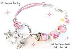 Leather Bracelet, Pink Bracelet, Charm Bracelet, Happiness Jewelry, Leather Jewelry, Ceramic Beads, owl, Butterfly, Charms,KHL Handmade Jewellery, Etsy
