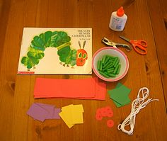 Very Hungry Caterpillar necklace craft supplies Craft Activities, Preschool Crafts, Teach Preschool, Preschool Literacy, Kids Crafts, Hungry Caterpillar Craft, Spring Crafts For Kids, Kids Education, Party Time