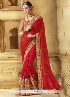 phenomenal-net-red-traditional-designer-saree-for-festival
