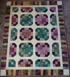 """Quilt, Batik Lap Quilt ,Patchwork Green and Purple, 55"""" x 70"""""""