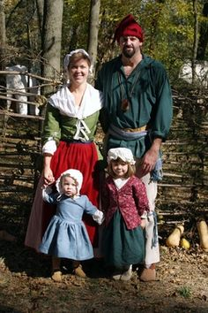 In this picture, my family and I are dressed as a family from the French fur trade era. Sasha created the hand-made period clothing. I am dressed specifically as a French-Canadian Voyageur. Traditional French Clothing, Traditional Dresses, Medieval Clothing, Historical Clothing, Canadian Costume, Canadian Clothing, Old School Fashion, French Outfit, Fur Trade