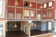 This replica of a 1920s hotel dollhouse has wood paneled bar, shops, restaurant and ladies powder room.