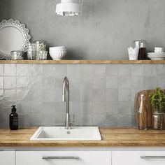 Ivy Hill Tile Amagansett Grey 4 in. x 4 in. / - The Home Depot - Ivy Hill Tile Amagansett Grey 4 in. x 4 in. / – The Home Depot Kitchen Shelves, Kitchen Tiles, Kitchen Decor, Glass Shelves, Kitchen Grey, Kitchen Pantry, Design Kitchen, Country Kitchen, Kitchen Cabinets