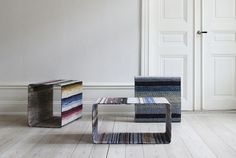 lars hofsjo recycles swedish rag rugs into torp and dunker tables
