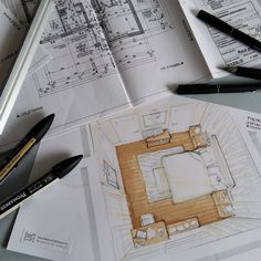 Home Decorating Trends 2018 Interior Architecture Drawing, Architecture Concept Drawings, Interior Design Sketches, Interior Rendering, Sketch Design, Architecture Design, Classical Architecture, Trends 2018, Bedroom Drawing