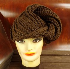 Crochet Hat Womens Hat DEITRA Fashion Turban Hat Brown Hat by strawberrycouture on Etsy 45.00 USD