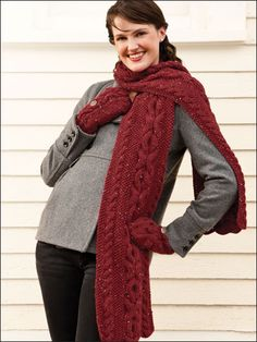 Reversible Cabled Scarf & Matching Flip-top Mittens