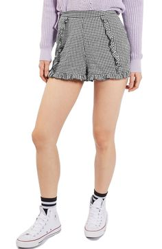Main Image - Topshop Ruffle Gingham Crinkle Shorts