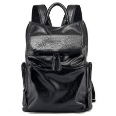 916ae088b718 Stylist Men Vintage Patent Leather Backpack Western style Travel Laptop Bag