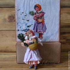 Купить Ватная елочная игрушка ДЕВОЧКА С КИСКОЙ - Новый Год, игрушка ручной работы